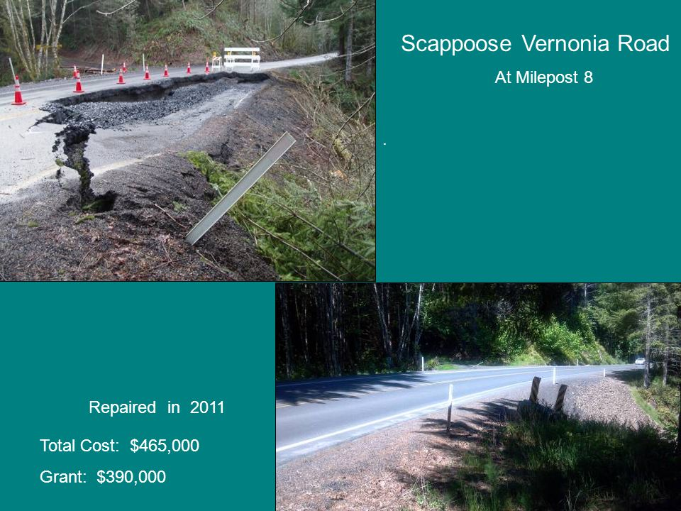Scappoose Vernonia Road At Milepost 8. Repaired in 2011 Total Cost: $465,000 Grant: $390,000