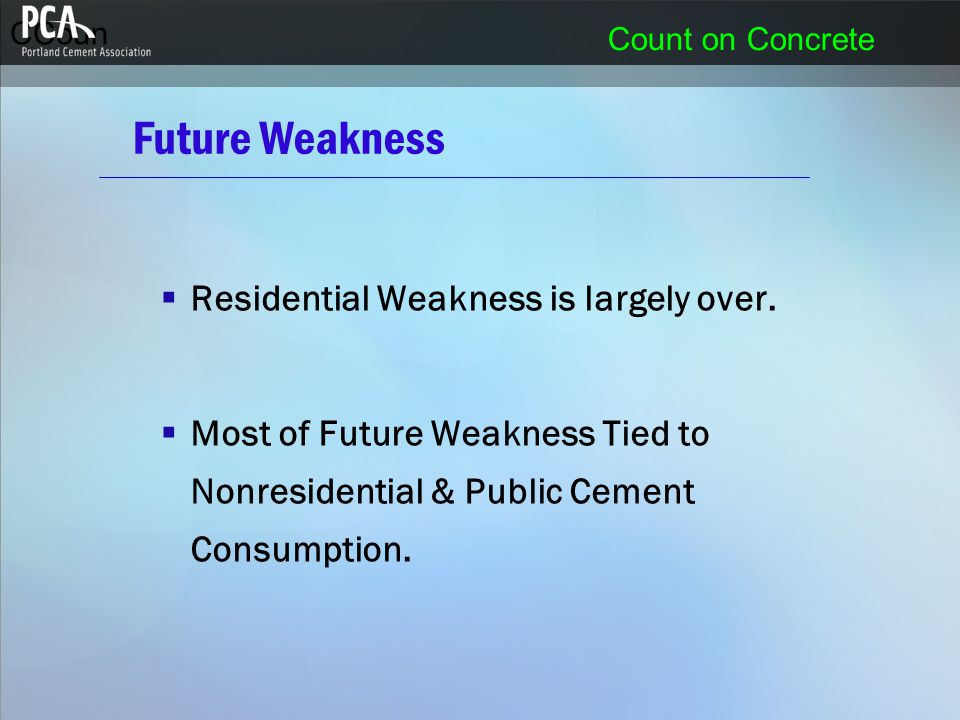 CCoun Count on Concrete Future Weakness  Residential Weakness is largely over.