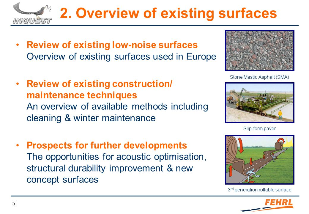 5 2. Overview of existing surfaces Review of existing low-noise surfaces Overview of existing surfaces used in Europe Review of existing construction/