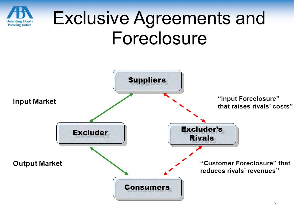 Exclusive Agreements and Foreclosure Excluder's Rivals Excluder Consumers Suppliers Input Market Output Market Input Foreclosure that raises rivals' costs Customer Foreclosure that reduces rivals' revenues 8