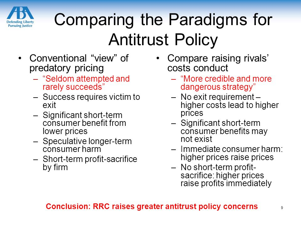 Comparing the Paradigms for Antitrust Policy Conventional view of predatory pricing – Seldom attempted and rarely succeeds –Success requires victim to exit –Significant short-term consumer benefit from lower prices –Speculative longer-term consumer harm –Short-term profit-sacrifice by firm Compare raising rivals' costs conduct – More credible and more dangerous strategy –No exit requirement – higher costs lead to higher prices –Significant short-term consumer benefits may not exist –Immediate consumer harm: higher prices raise prices –No short-term profit- sacrifice: higher prices raise profits immediately 9 Conclusion: RRC raises greater antitrust policy concerns