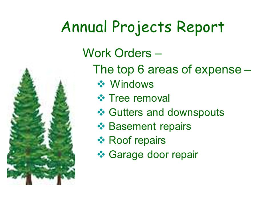 Annual Projects Report Work Orders – The top 6 areas of expense –  Windows  Tree removal  Gutters and downspouts  Basement repairs  Roof repairs  Garage door repair