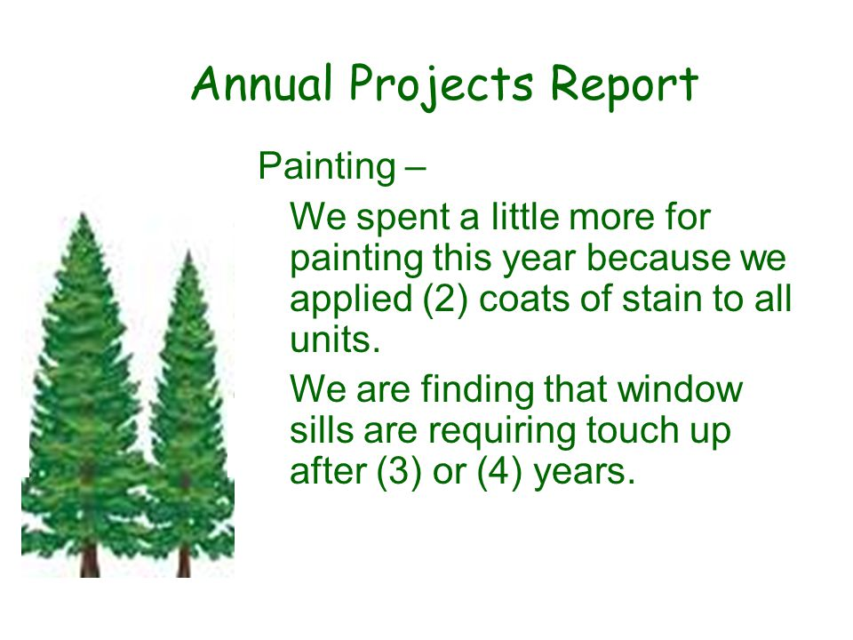 Annual Projects Report Painting – We spent a little more for painting this year because we applied (2) coats of stain to all units.