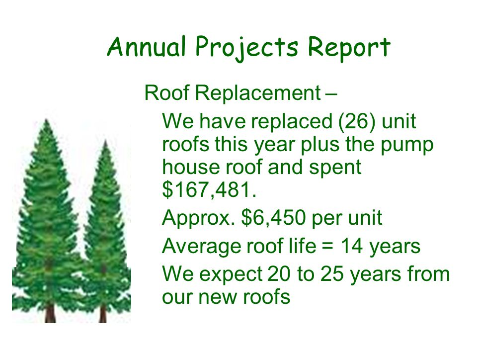 Annual Projects Report Roof Replacement – We have replaced (26) unit roofs this year plus the pump house roof and spent $167,481.