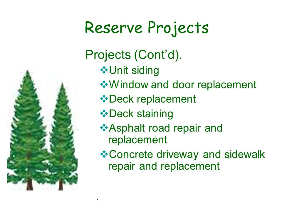 Reserve Projects Projects (Cont'd).