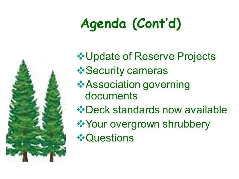 Agenda (Cont'd)  Update of Reserve Projects  Security cameras  Association governing documents  Deck standards now available  Your overgrown shrubbery  Questions State of the Association - –Roof Replaceme nts –Unit painting –Deck staining –Concrete replaceme nt –Changes for 2010