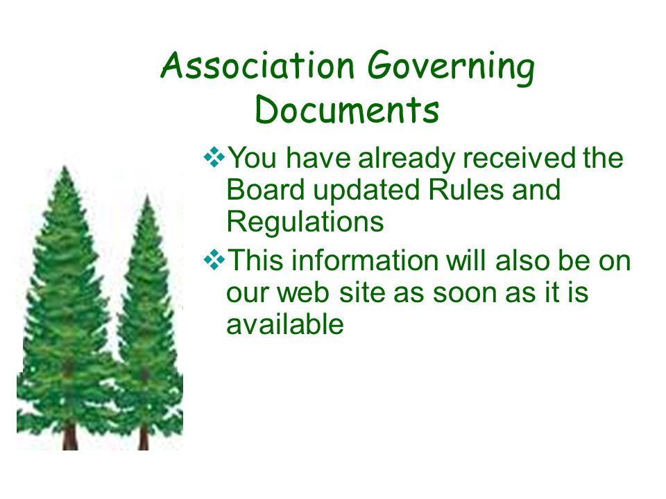 Association Governing Documents  You have already received the Board updated Rules and Regulations  This information will also be on our web site as soon as it is available.