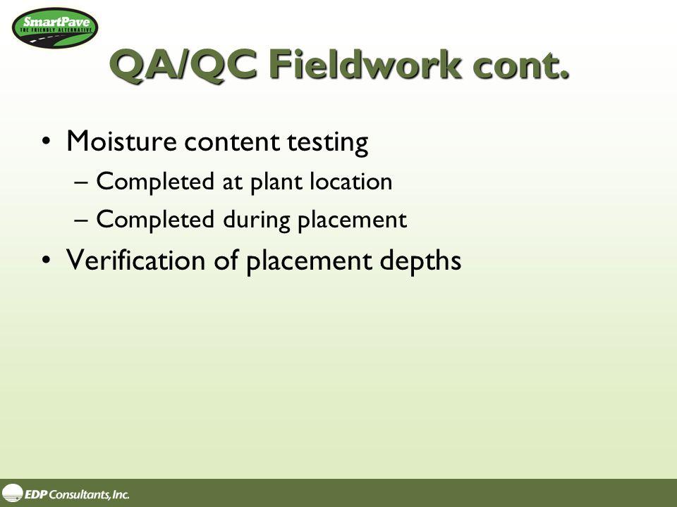 QA/QC Fieldwork cont.