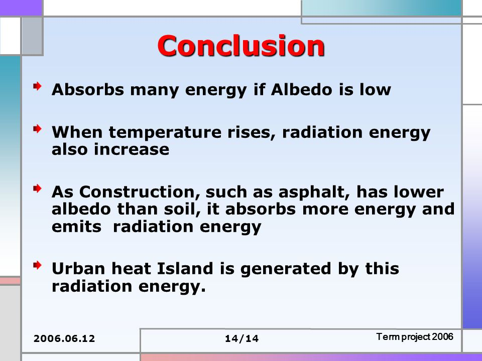 2006.06.1214/14 Term project 2006 Conclusion Absorbs many energy if Albedo is low When temperature rises, radiation energy also increase As Construction, such as asphalt, has lower albedo than soil, it absorbs more energy and emits radiation energy Urban heat Island is generated by this radiation energy.