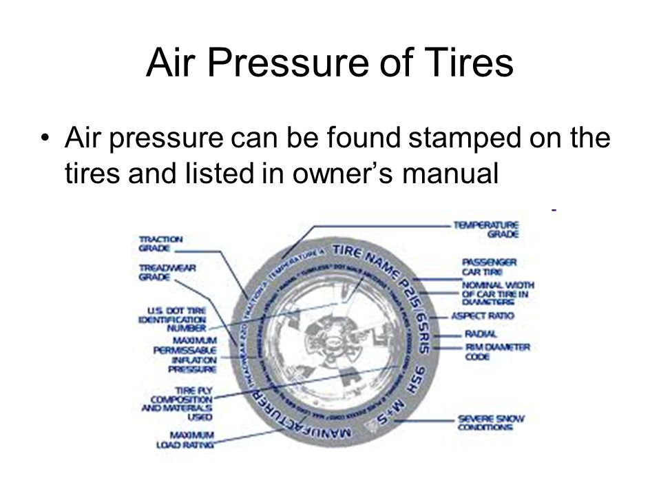 Air Pressure of Tires Air pressure can be found stamped on the tires and listed in owner's manual