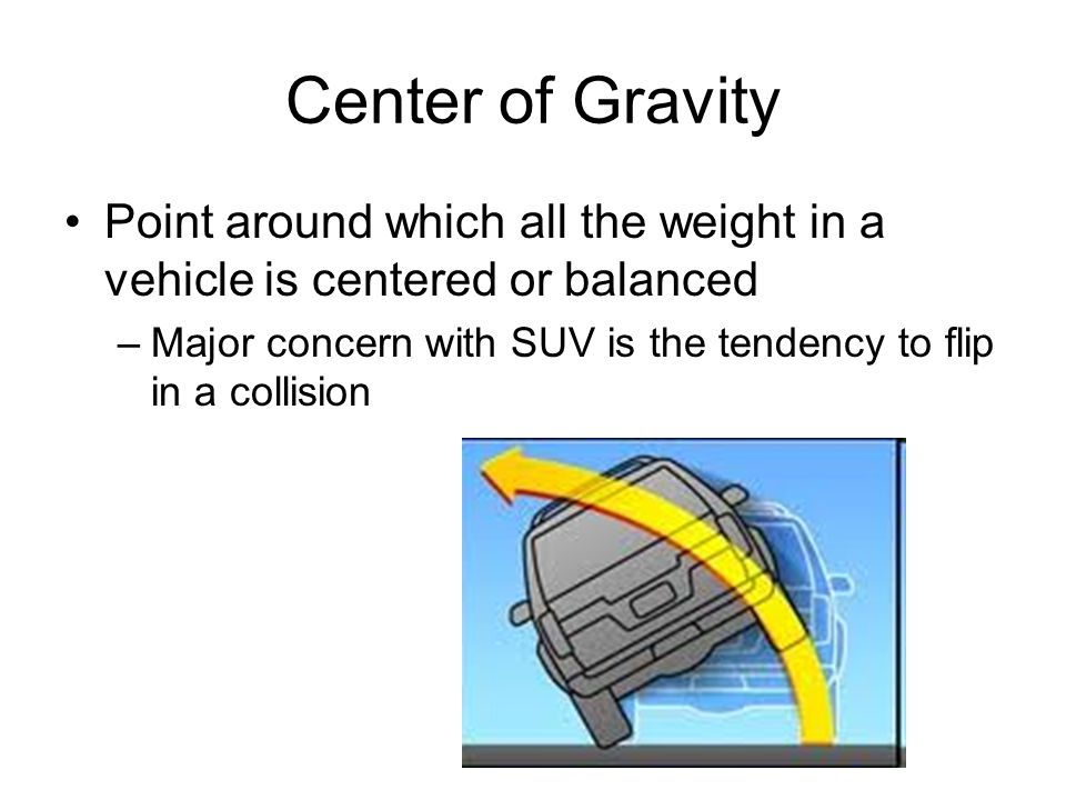 Center of Gravity Point around which all the weight in a vehicle is centered or balanced –Major concern with SUV is the tendency to flip in a collisio