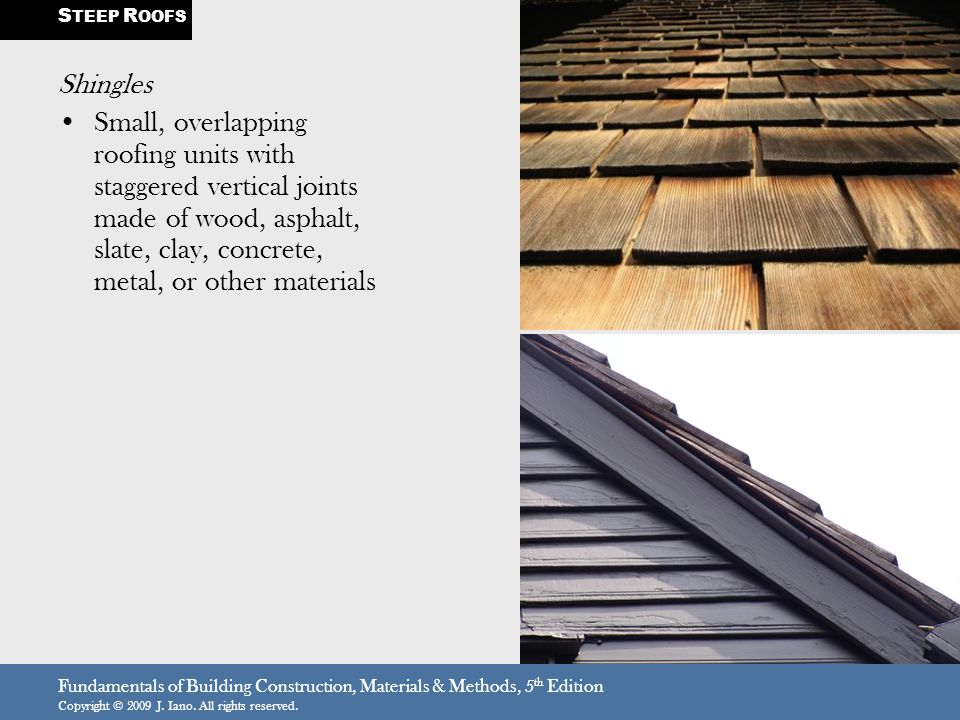 Fundamentals of Building Construction, Materials & Methods, 5 th Edition Copyright © 2009 J.