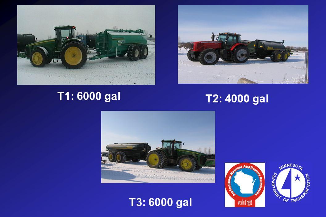 T2: 4000 gal T1: 6000 gal T3: 6000 gal