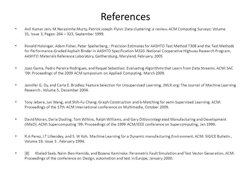 References Anil Kumar Jain, M Narasimha Murty, Patrick Joseph Flynn: Data clustering: a review.