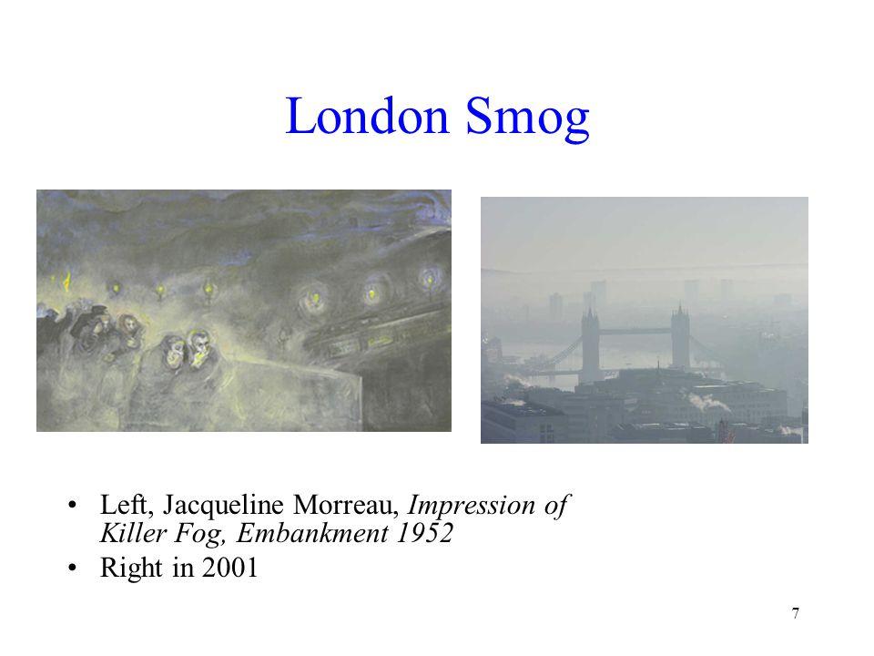 7 London Smog Left, Jacqueline Morreau, Impression of Killer Fog, Embankment 1952 Right in 2001