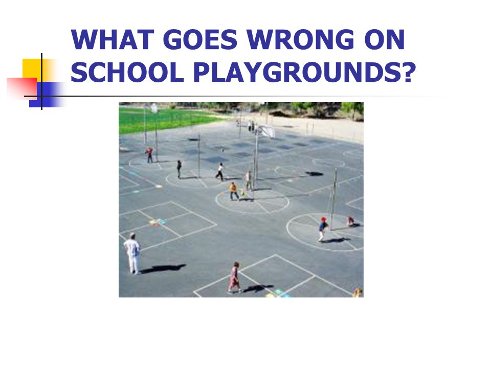 WHAT GOES WRONG ON SCHOOL PLAYGROUNDS