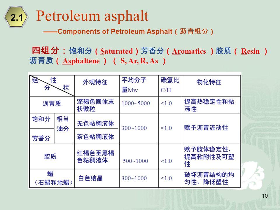 10 四组分: 饱和分( Saturated )芳香分( Aromatics )胶质( Resin ) 沥青质( Asphaltene ) ( S, Ar, R, As ) Petroleum asphalt 2.1 ——Components of Petroleum Asphalt (沥青组分)