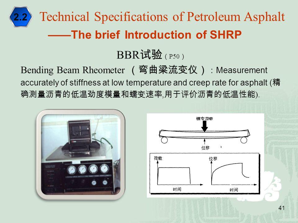 41 BBR 试验 ( P50 ) Bending Beam Rheometer (弯曲梁流变仪) : Measurement accurately of stiffness at low temperature and creep rate for asphalt ( 精 确测量沥青的低温劲度模量