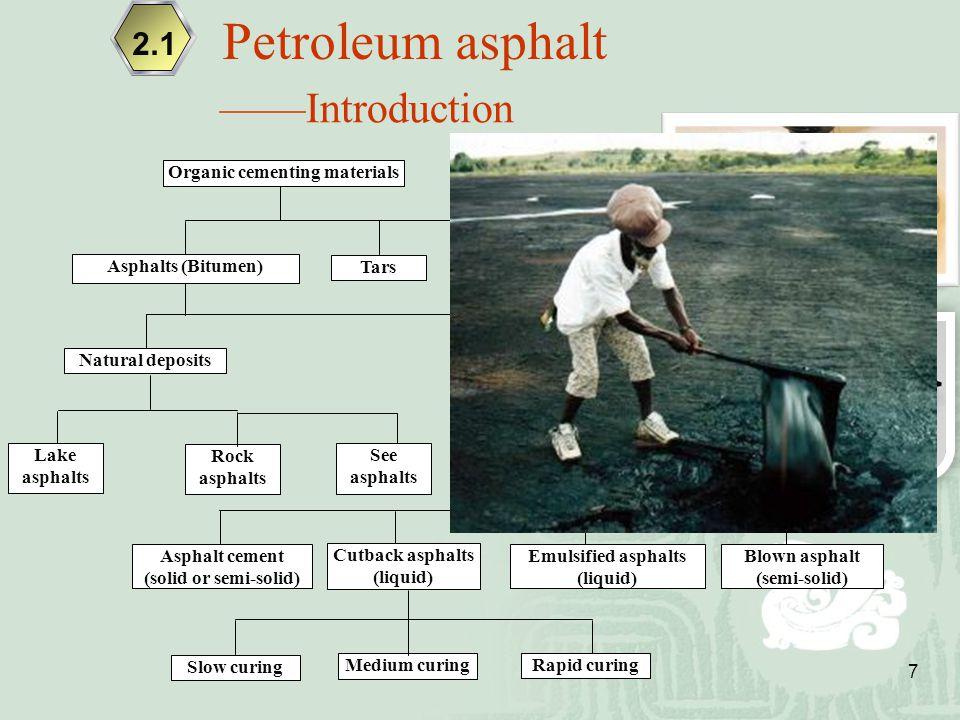 7 ——Introduction Organic cementing materials Tars Pitches Natural deposits Petroleum asphalts Rock asphalts Asphalt cement (solid or semi-solid) Cutba