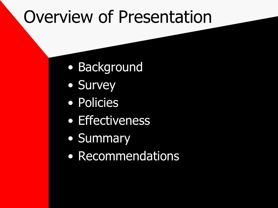 Overview of Presentation Background Survey Policies Effectiveness Summary Recommendations