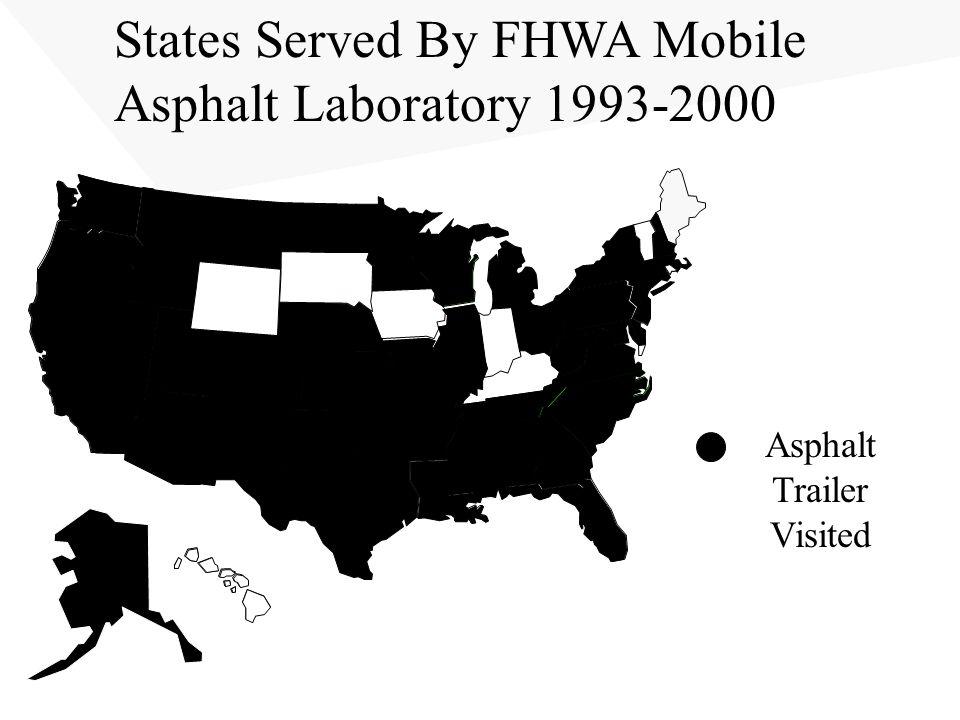 States Served By FHWA Mobile Asphalt Laboratory 1993-2000 Asphalt Trailer Visited