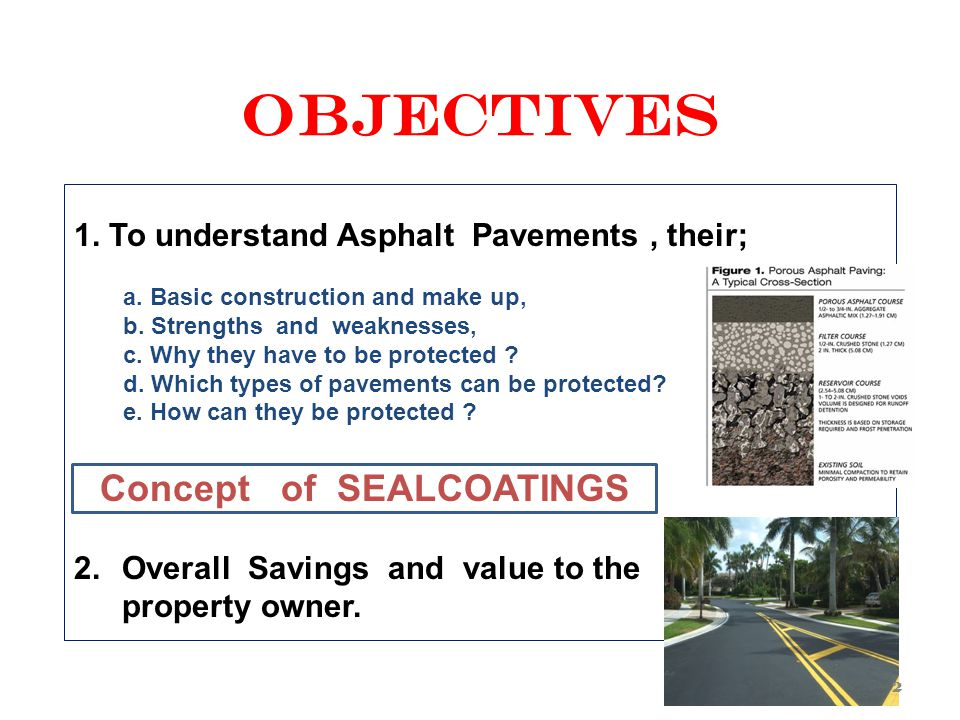OBJECTIVES 1.To understand Asphalt Pavements, their; a.