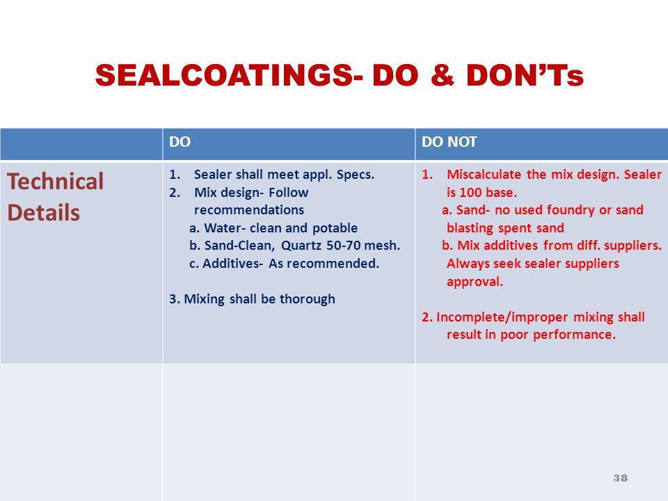 SEALCOATINGS- DO & DON'Ts DODO NOT General 1. Sell for intended purposeOversell.