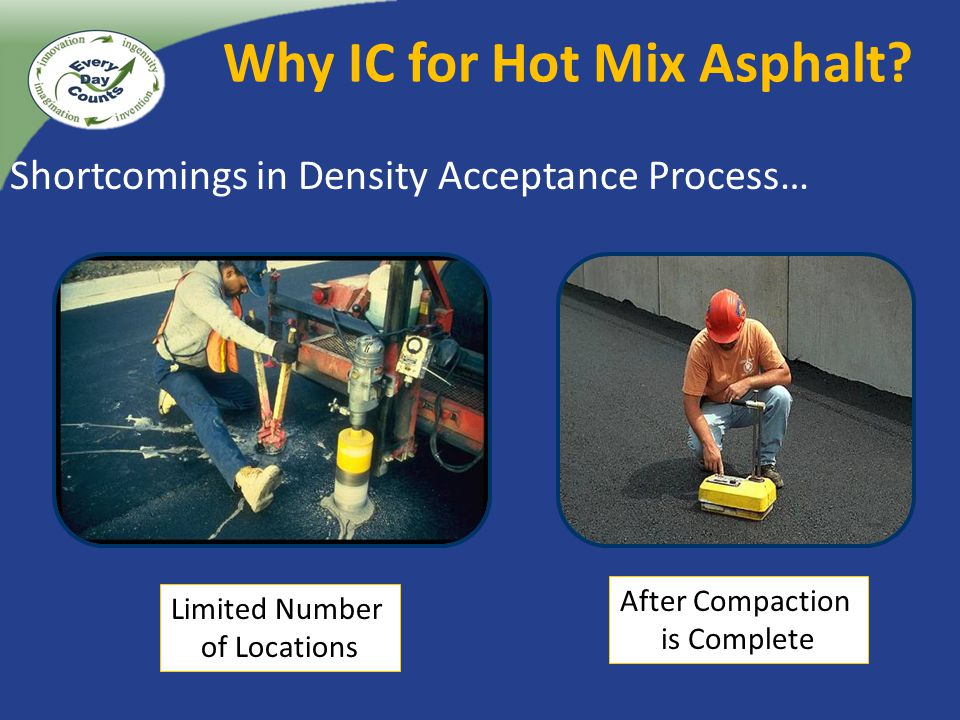 Shortcomings in Density Acceptance Process… Limited Number of Locations After Compaction is Complete Why IC for Hot Mix Asphalt?