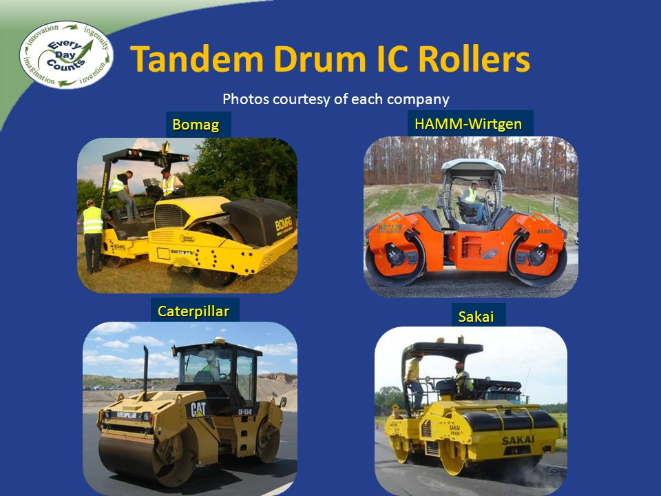 Tandem Drum IC Rollers Bomag Caterpillar Sakai HAMM-Wirtgen Photos courtesy of each company