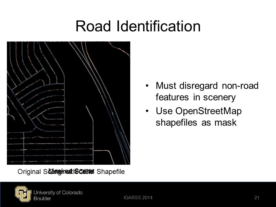 Road Identification Must disregard non-road features in scenery Use OpenStreetMap shapefiles as mask Original Scene Masked Scene Original Scene with O
