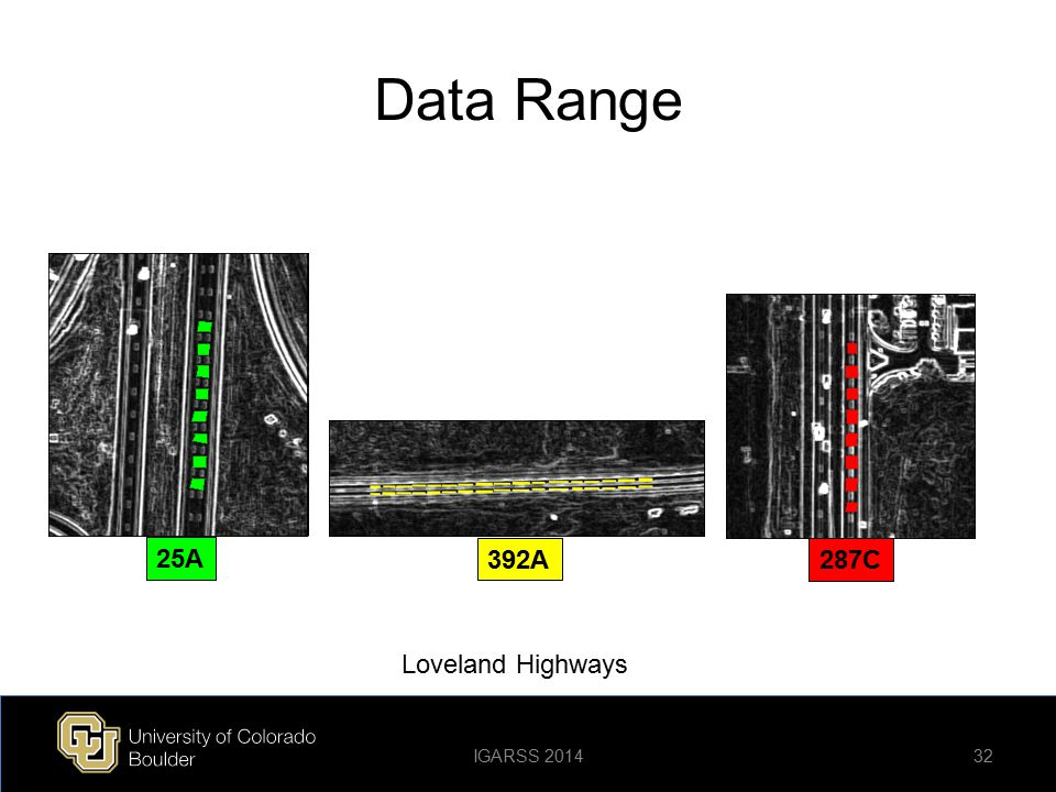 Data Range 32 Loveland Highways 25A 392A 287C IGARSS 2014