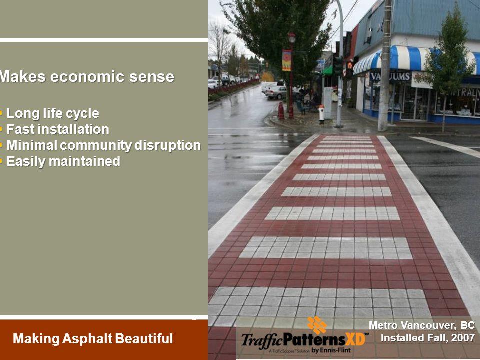 Making Asphalt Beautiful Makes economic sense  Long life cycle  Fast installation  Minimal community disruption  Easily maintained Metro Vancouver