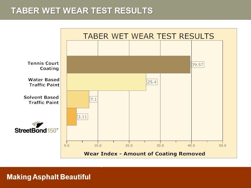 Making Asphalt Beautiful TABER WET WEAR TEST RESULTS