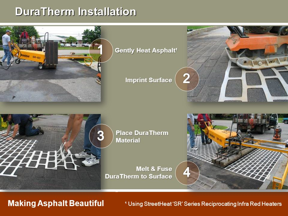 Gently Heat Asphalt¹ Imprint Surface Place DuraTherm Material Melt & Fuse DuraTherm to Surface ¹ Using StreetHeat 'SR' Series Reciprocating Infra Red
