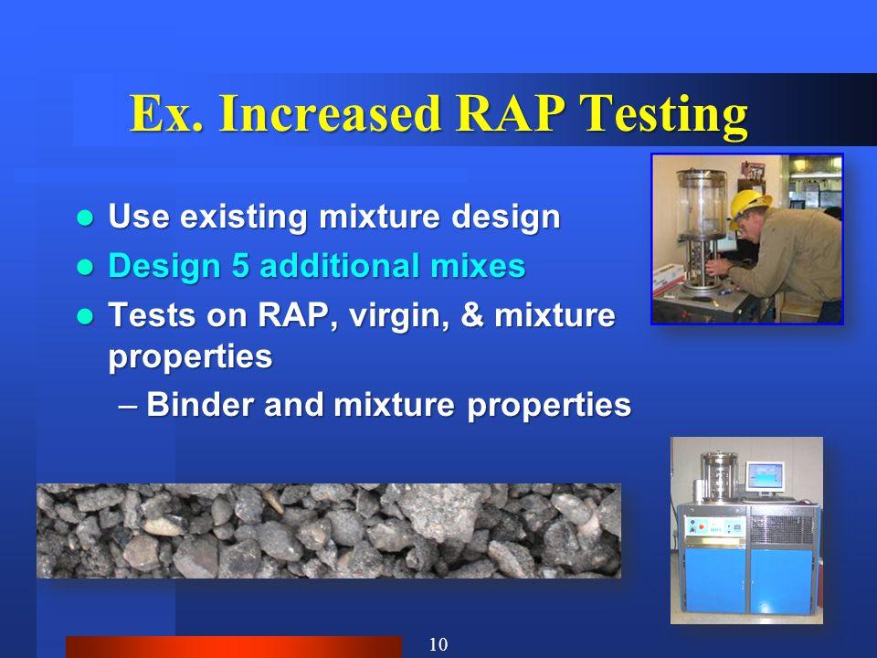 Ex. Increased RAP Testing Use existing mixture design Use existing mixture design Design 5 additional mixes Design 5 additional mixes Tests on RAP, vi