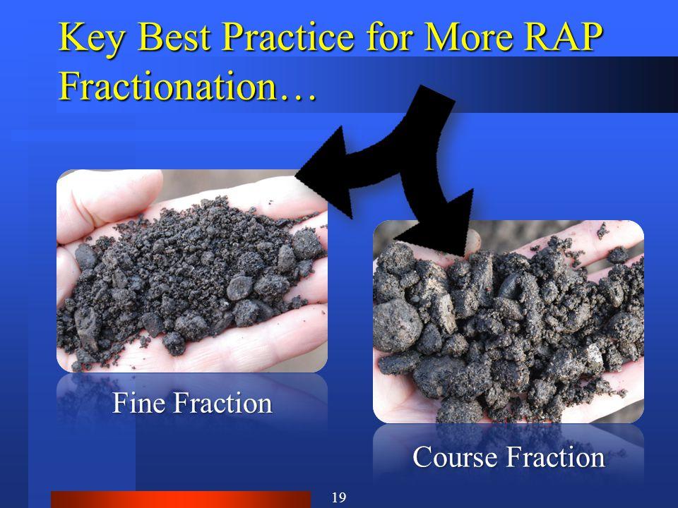 Key Best Practice for More RAP Fractionation… Fine Fraction Course Fraction 19