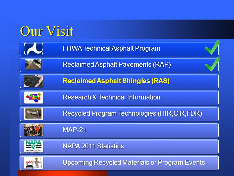 Our Visit FHWA Technical Asphalt Program Reclaimed Asphalt Pavements (RAP) Reclaimed Asphalt Shingles (RAS) Research & Technical Information Recycled Program Technologies (HIR,CIR,FDR) MAP-21 NAPA 2011 Statistics Upcoming Recycled Materials or Program Events