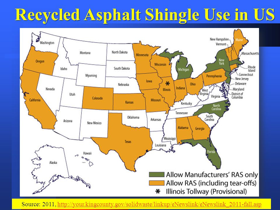 Recycled Asphalt Shingle Use in US Source: 2011, http://your.kingcounty.gov/solidwaste/linkup/eNewslink/eNewslink_2011-fall.asphttp://your.kingcounty.gov/solidwaste/linkup/eNewslink/eNewslink_2011-fall.asp
