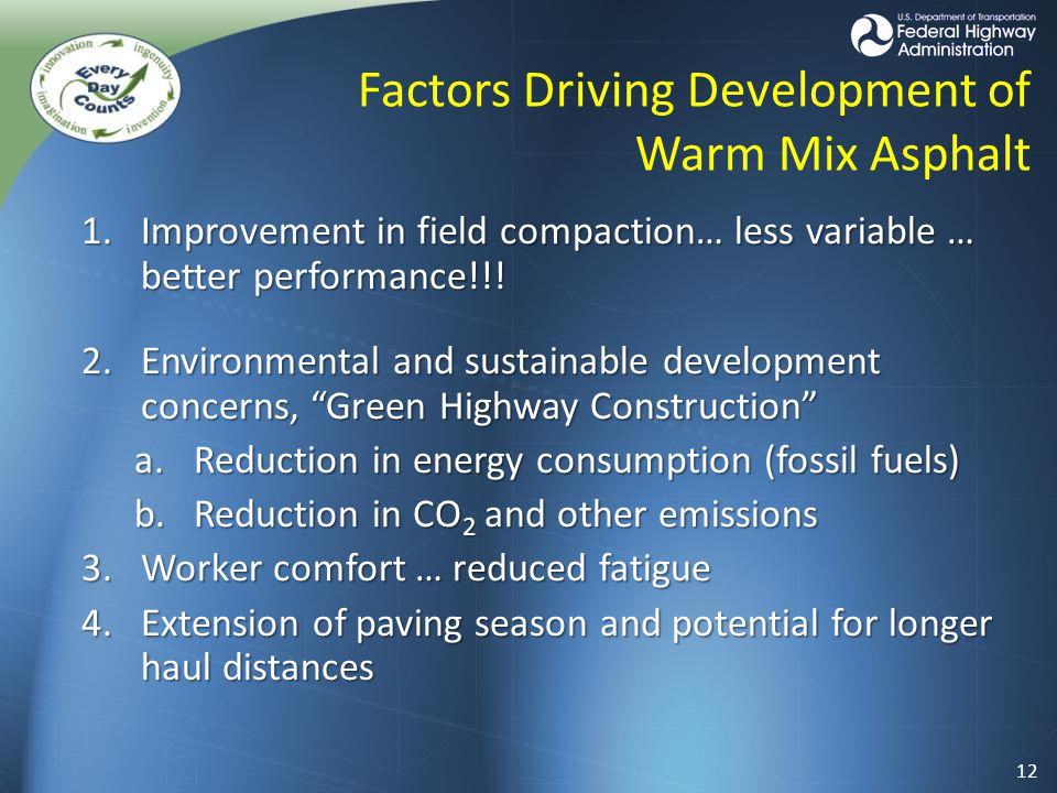 Factors Driving Development of Warm Mix Asphalt 1.Improvement in field compaction… less variable … better performance!!.