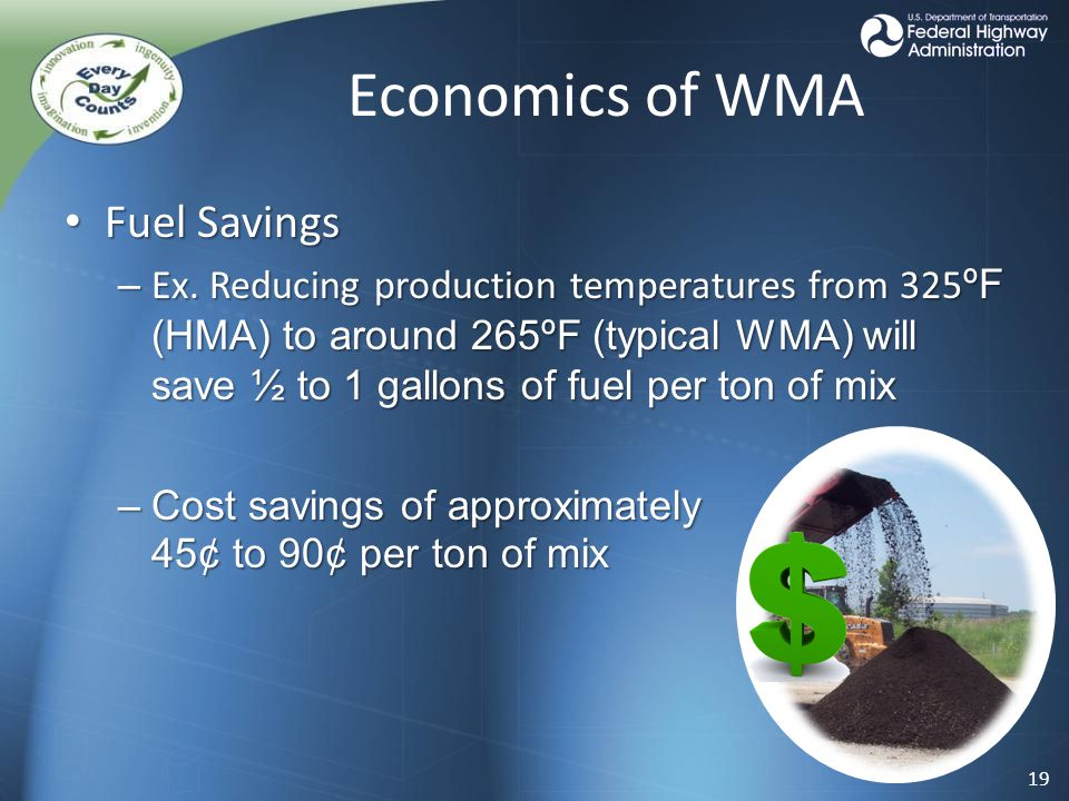 Economics of WMA Fuel Savings Fuel Savings – Ex.