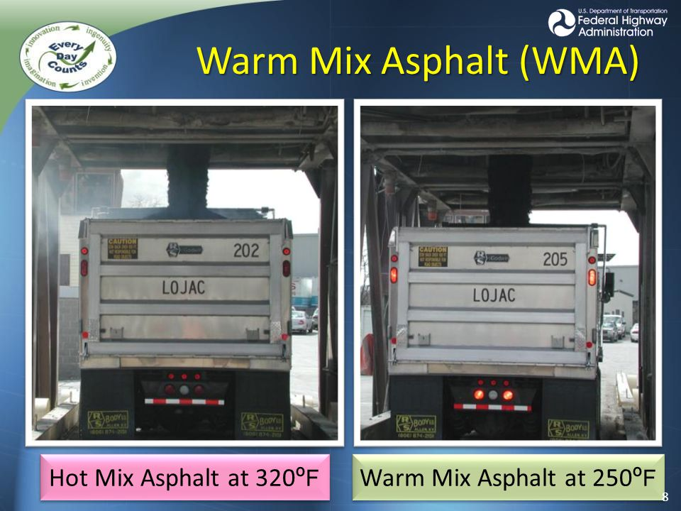 Warm Mix Asphalt (WMA) Hot Mix Asphalt at 320 º F Warm Mix Asphalt at 250 º F 8