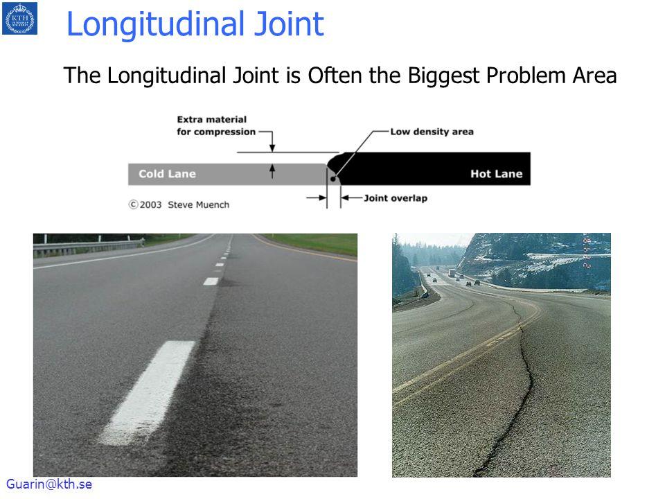 Guarin@kth.se The Longitudinal Joint is Often the Biggest Problem Area Longitudinal Joint