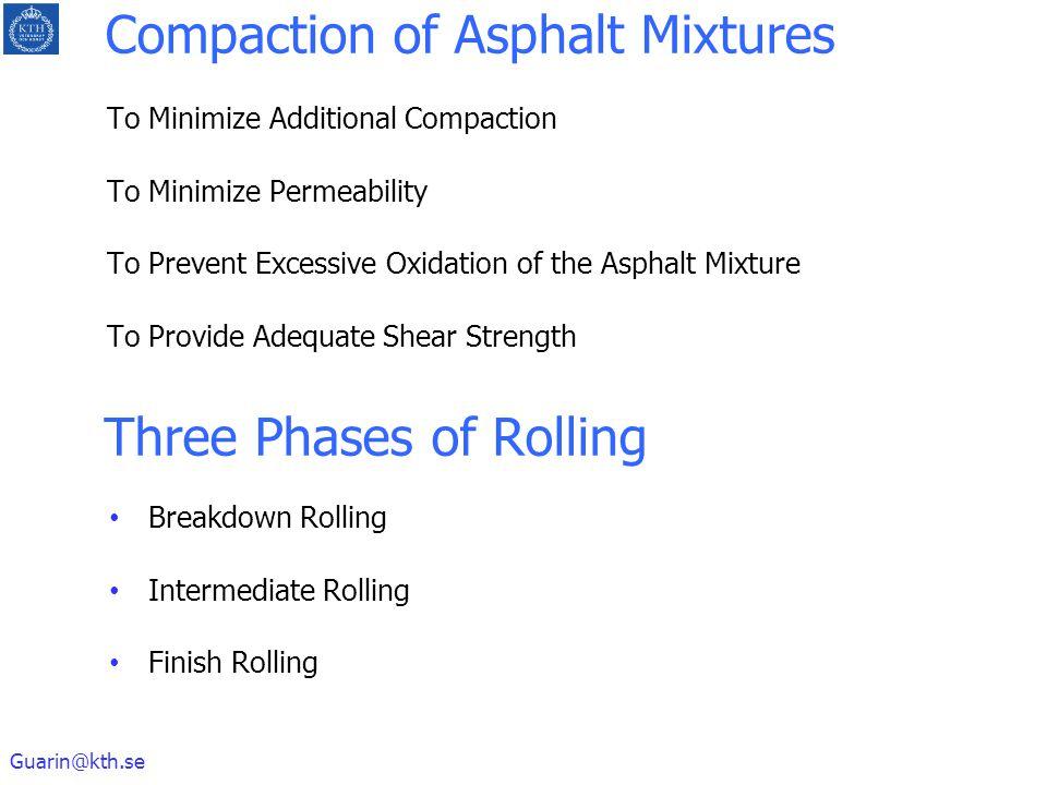 Guarin@kth.se Compaction of Asphalt Mixtures To Minimize Additional Compaction To Minimize Permeability To Prevent Excessive Oxidation of the Asphalt