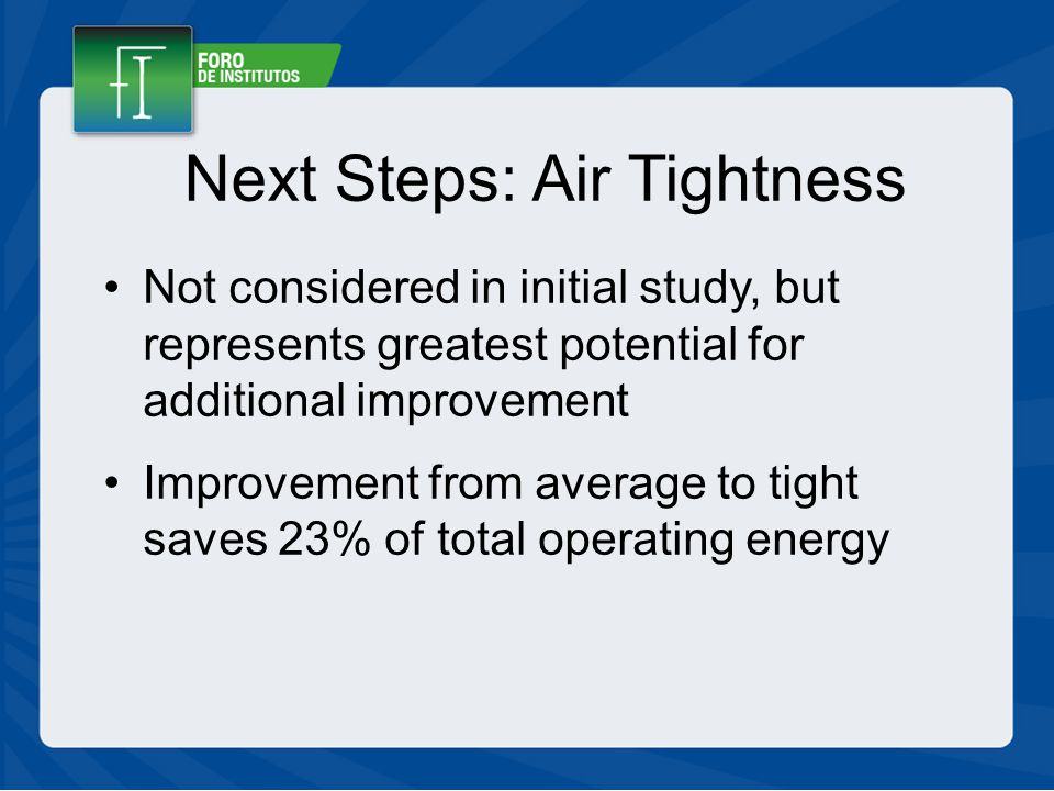 Next Steps: Air Tightness Not considered in initial study, but represents greatest potential for additional improvement Improvement from average to tight saves 23% of total operating energy
