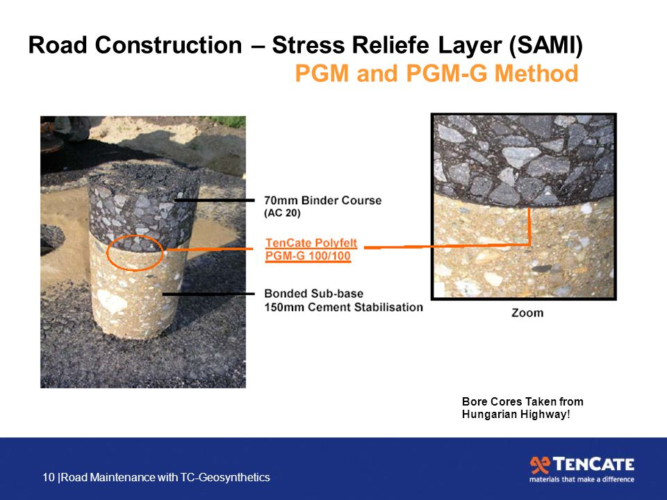 10 |Road Maintenance with TC-Geosynthetics Road Construction – Stress Reliefe Layer (SAMI) PGM and PGM-G Method Bore Cores Taken from Hungarian Highwa