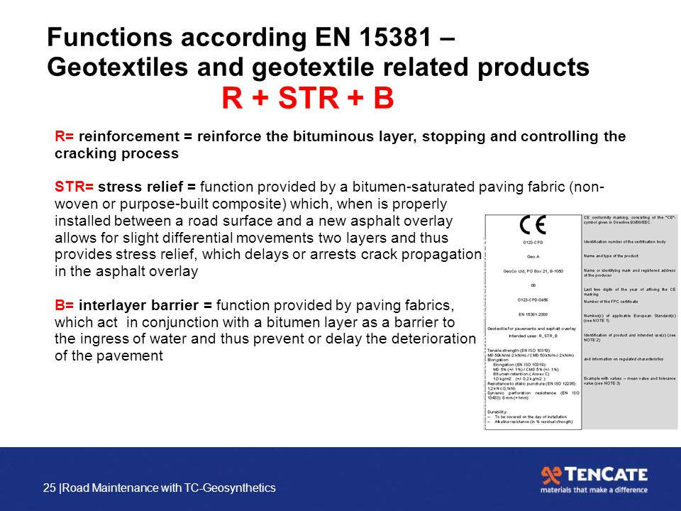 25 |Road Maintenance with TC-Geosynthetics Functions according EN 15381 – Geotextiles and geotextile related products R + STR + B R= reinforcement = r