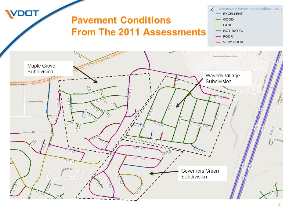 2011 Pavement Rating Assessment Details All Three Subdivisions Combined 10 Overall RatingLane Miles Very Poor0.72 Poor3.96 Fair2.02 Good9.94 Excellent0.52