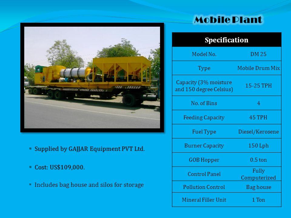  Supplied by GAJJAR Equipment PVT Ltd.  Cost: US$109,000.