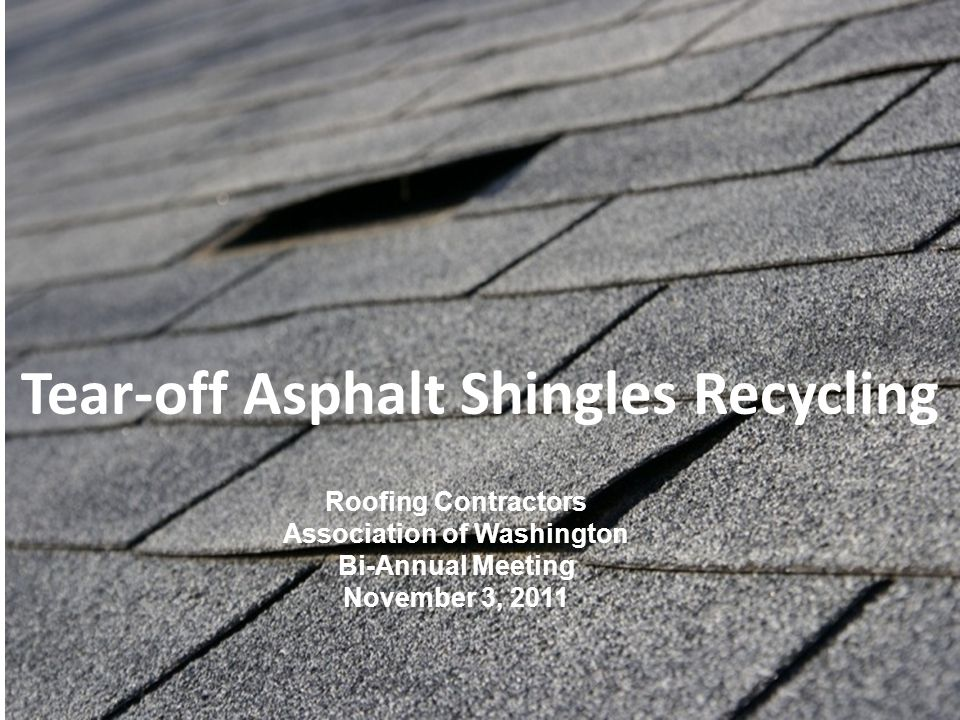 Roofing & Asbestos For the demonstration: Used asphalt shingles only Inspections of incoming loads Rigorous sampling and testing What we learned: Shingles themselves are a low risk Important to ID asbestos on roof Important to inspect roofing loads at disposal and recycling facilities