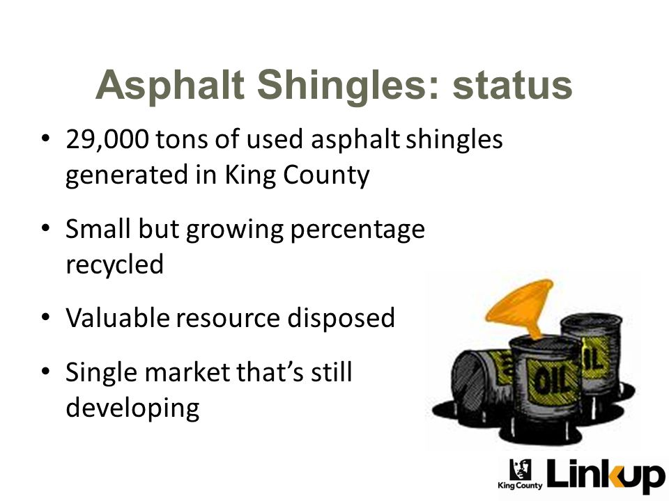 29,000 tons of used asphalt shingles generated in King County Small but growing percentage recycled Valuable resource disposed Single market that's still developing Asphalt Shingles: status